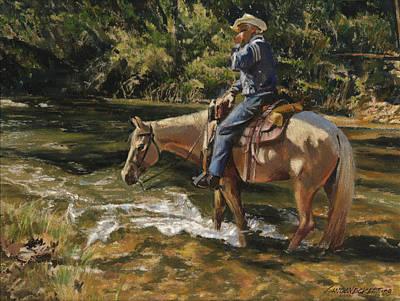 Man On Horse Cooling Feet Print by Don  Langeneckert