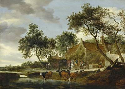 Dutch Shepherd Painting - Stopping Place by Salomon van Ruysdael