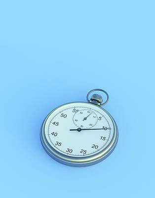 Mechanism Photograph - Stopwatch On Blue Background by David Parker