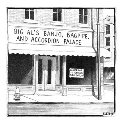 Store Front Window. Store Name Is Big Al's Banjo Print by Matthew Diffee