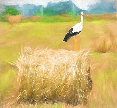 Stork Digital Art - Stork Landscape by Yury Malkov