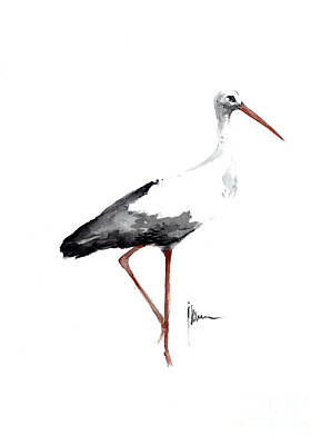 Stork Mixed Media - Stork Watercolor Art Print Painting Birds Ideas Large Poster For Sale by Joanna Szmerdt