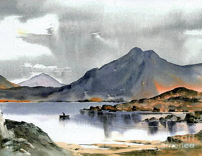 The Calm  Before The Storm Over Connemara Co Galaway Print by Val Byrne