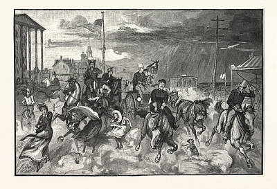 Storm Drawing - Storm At Long Branch by English School