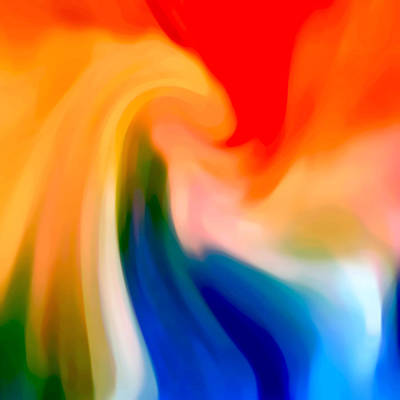 Red Abstract Digital Art - Storm At Sea Square 1 by Amy Vangsgard