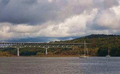 Grey Clouds Photograph - Storm Brewing Over Rip Van Winkle Bridge by Ellen Levinson