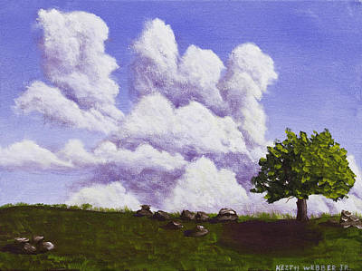 Maine Meadow Painting - Storm Clouds Over Maine Blueberry Field by Keith Webber Jr