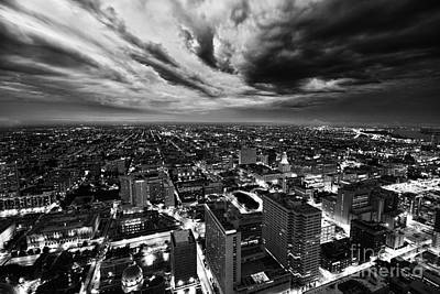 Storm Clouds Over North Philadelphia Black And W Print by Ultra Violet Photography