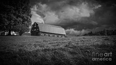 Storm Clouds Over The Farm Print by Edward Fielding