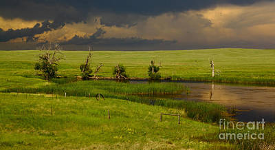 Dark Clouds Photograph - Storm Crossing Prairie 1 by Robert Frederick
