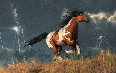 Pinto Digital Art - Storm Mustang by Daniel Eskridge