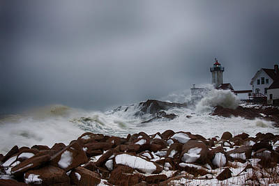 Storm Off Eastern Point Lighthouse Print by Jeff Folger