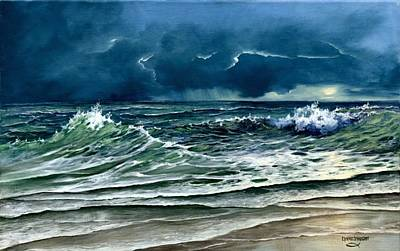 Turbulent Skies Painting - Storm Off Yucatan Mexico by Lynne Wright