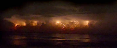 Storm On The Surf. Melbourne Shores. Print by Chris  Kusik