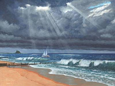 Northumberland Painting - Storm Over Lindisfarne by Richard Harpum