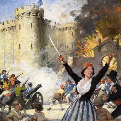 Storming The Bastille Print by English School