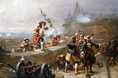 Army Painting - Storming The Battlements by Robert Alexander Hillingford