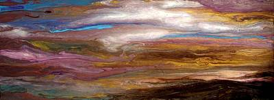Storms At Sunset / Original Skyscape Painting Print by Holly Anderson