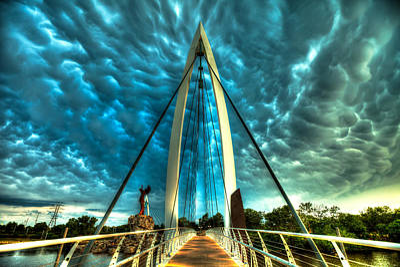 Stormy Bridge Print by  Caleb McGinn