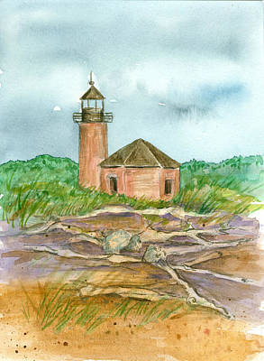 Cloudy Day Drawing - Stormy Day Lighthouse by Cathie Richardson