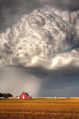Prairie Photograph - Stormy Homestead Barn by Thomas Zimmerman
