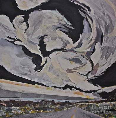Contemplative Mixed Media - Stormy Roads - Torn Paper Collage by Deborah Talbot - Kostisin