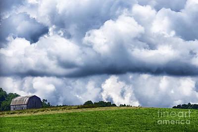 Stormy Sky And Barn Print by Thomas R Fletcher