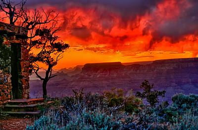 Stormy Sunset At The Watchtower Print by Greg Norrell