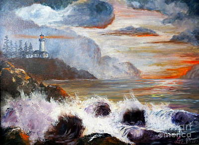 Maine Lighthouses Painting - Stormy Sunset by Lee Piper