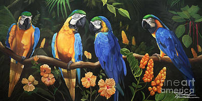 Blue And Gold Macaw Painting - Story Teller by Michael Alexander