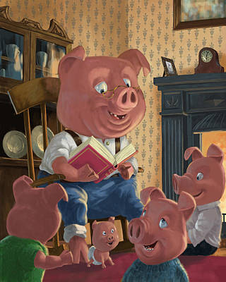 Listening Digital Art - Story Telling Pig With Family by Martin Davey