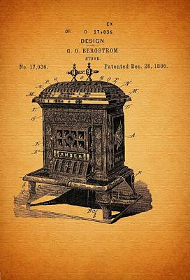Stove Design And Patent 1886 Print by Mountain Dreams