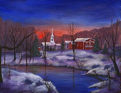 Village Scene Drawing - Stowe - Vermont by Anastasiya Malakhova