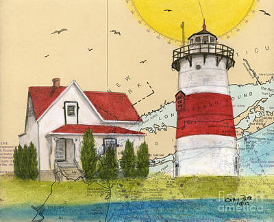 New England Lighthouse Painting - Stratford Pt Lighthouse Ct Nautical Chart Map Art by Cathy Peek