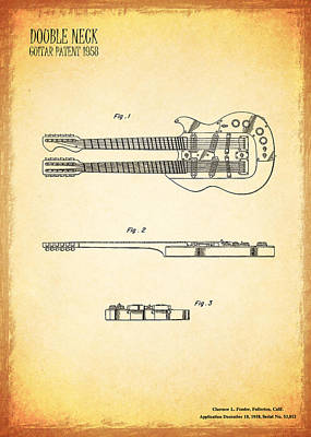 Double Bass Photograph - Stratosphere Double Neck Guitar Patent by Mark Rogan