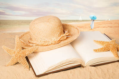 Straw Hat On Beach With Book Print by Amanda Elwell