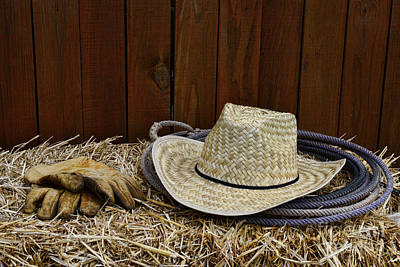 Working Cowboy Photograph - Straw Hat  On  Hay by Paul Ward