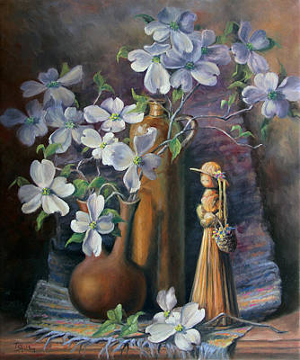 Straw Maiden With Dogwoods Original by Theresa Shelton