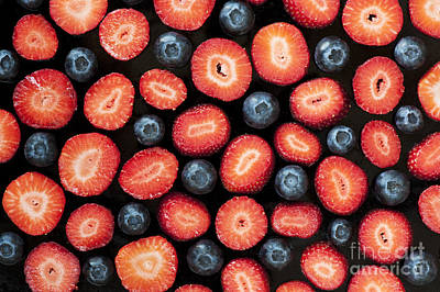 Red Fruit Photograph - Strawberries And Blueberries by Tim Gainey