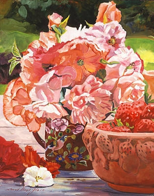Strawberries And Flowers Print by David Lloyd Glover