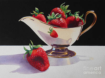Strawberries And Gold Creamer Print by Jean Yates