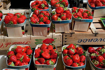 Strawberries For Sale At Weekly Market Print by Panoramic Images
