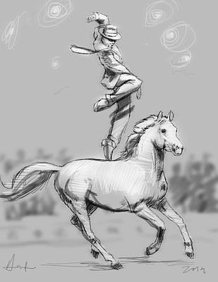 Horse Show Digital Art - Strawberry And Mister Mister by H James Hoff