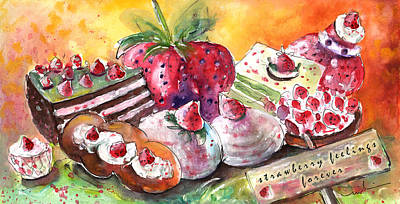 Strawberry Drawing - Strawberry Feelings Forever by Miki De Goodaboom