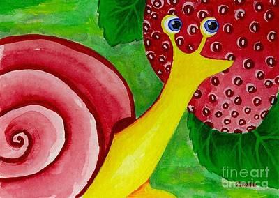 Painting - Strawberry Snail by Lori Ziemba