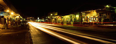 Streaks Of Lights On The Road In A City Print by Panoramic Images