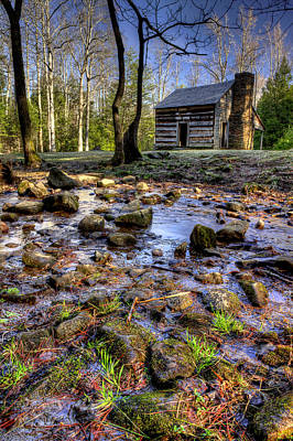 Log Cabin Photograph - Stream Behind The Cades Cove Cabin by Michael Eingle