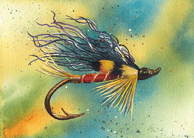 Streamer Painting - Streamer Fishing Fly by Sylvia Smith