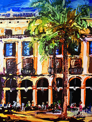 Barcelona Mixed Media - Street Cafe In Barcelona by Ginette Callaway