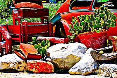 Three Sisters Digital Art - Street Corner At The Hog Pen Leakey Texas by Bonnie Chapa